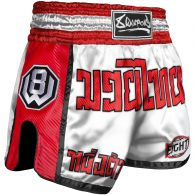 Short de Muay Thai 8 Weapons Carbon - Blanc/Rouge
