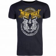 T-shirt 8 Weapons Sak Yant Tigers Muay Thai - Noir