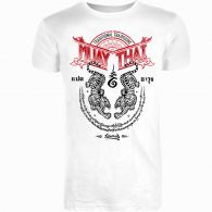 T-shirt 8 Weapons Sak Yant Tigers Muay Thai - Blanc