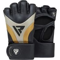 Gants de MMA Grappling RDX Sports Aura T-17 - Noir/Blanc/Or