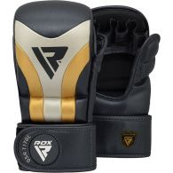 Gants de MMA Grappling sparring RDX Sports Shooter Aura T-17 - Noir/Blanc/Or