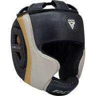 Casque de boxe RDX Sports Aura T-17 - Noir/Blanc/Or