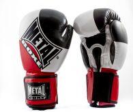 Gants Compétition Metal Boxe - Noir/Blanc/Rouge
