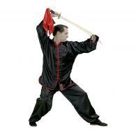 Tenue de Kung Fu Fuji Mae - Satin Noir, liseré Rouge