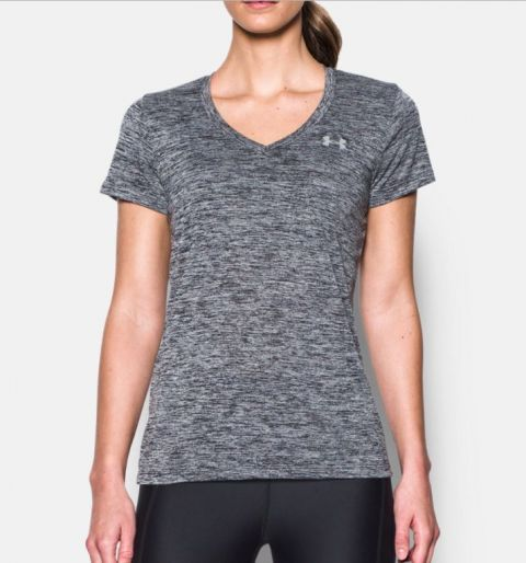 T-shirt Col V Femme Under Armour UA Tech™ Twist - Noir Chiné