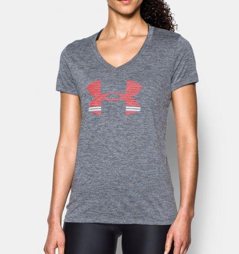 T-shirt Col V Femme Under Armour UA Tech™ Graphic - Gris