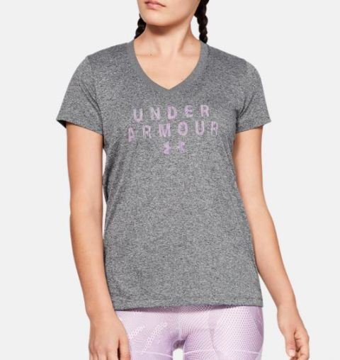 T-shirt Femme Under Armour UA Tech™ V-Neck Graphic - Gris Chiné