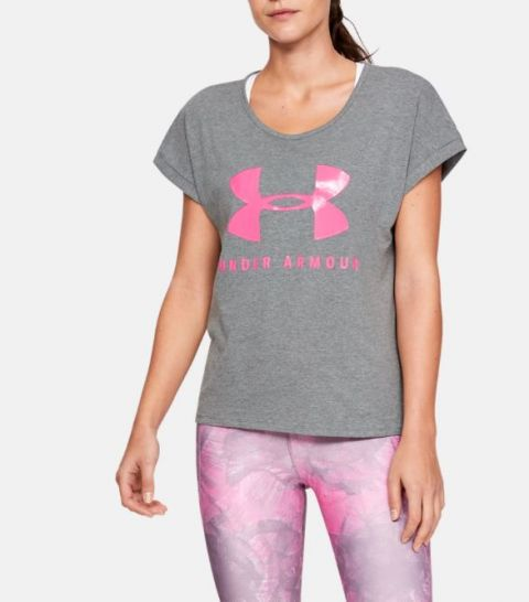 T-shirt Femme Under Armour Graphic Sportstyle Fashion - Gris/Rose