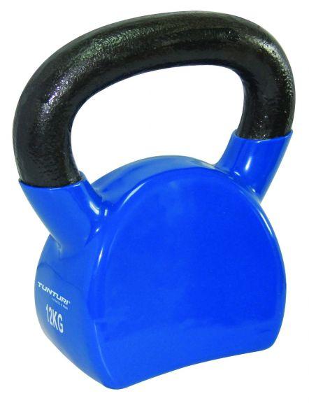 Kettlebell 12 kg Tunturi en vinyle - Bleu