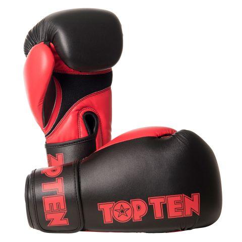 Gants de boxe américaine Top Ten XLP - Noir/Rouge