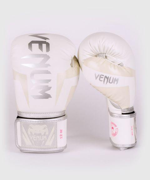 Gants de boxe Venum Elite - Blanc/Argent-Rose