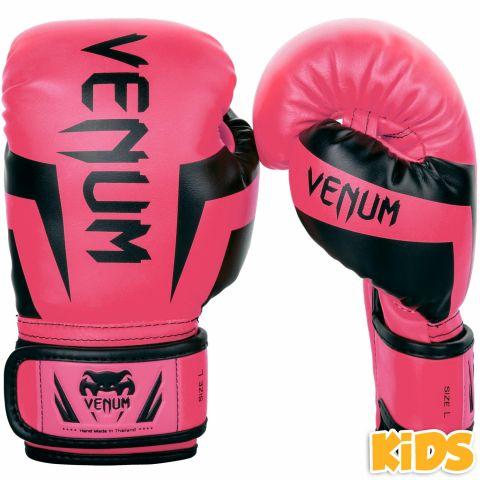 Gants de boxe enfant Venum Elite - Rose fluo