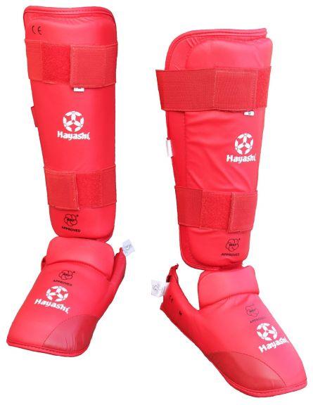 Protège-tibias et pieds de Karaté Hayashi - Rouge - Approuvés WKF