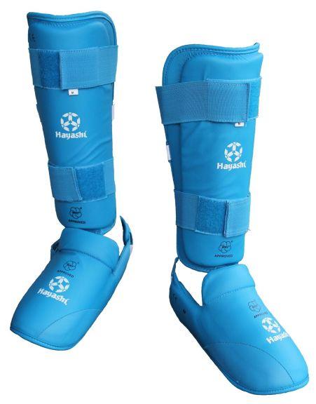 Protège-tibias et pieds de Karaté Hayashi - Bleu - Approuvés WKF