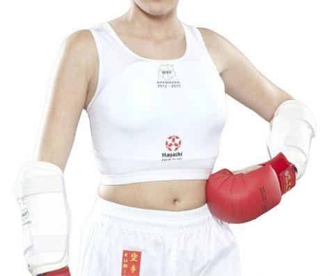 Protège-poitrine Femme Hayashi - Blanc - Approuvé WKF