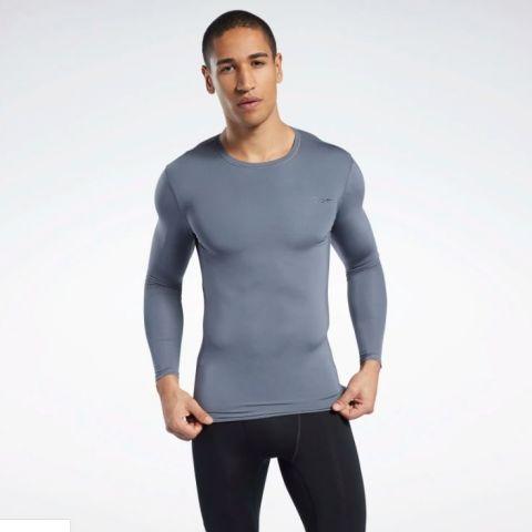 T-shirt de Compression Reebok Workout Ready Gris - manches longues