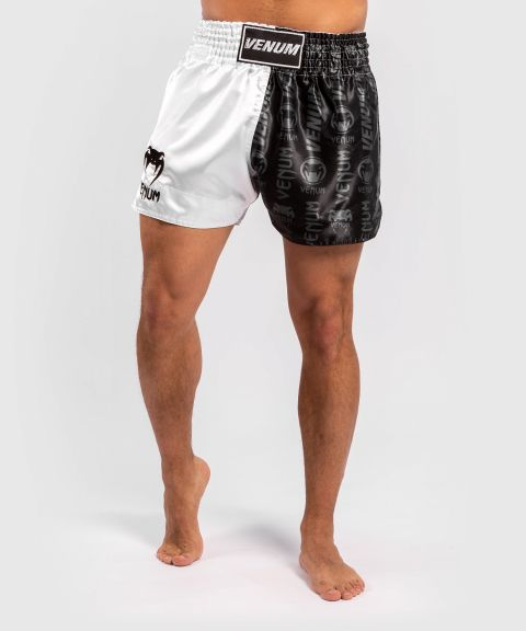 Short de Muay Thai Venum Logos - Noir/Blanc