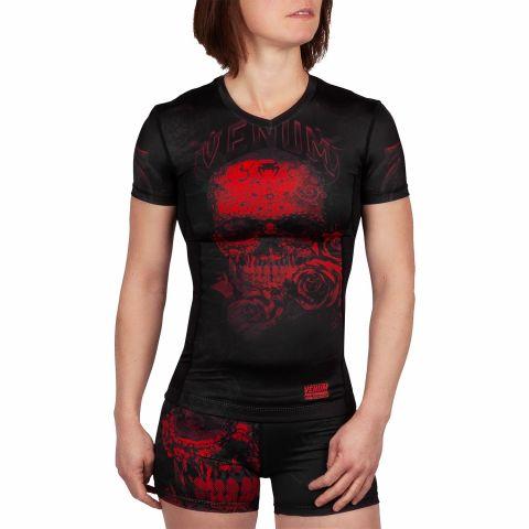 Rashguard Femme Venum Santa Muerte 3.0 - Manches courtes - Noir/Rouge