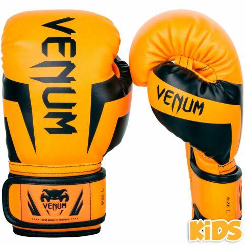 Gants de boxe enfant Venum Elite - Orange fluo