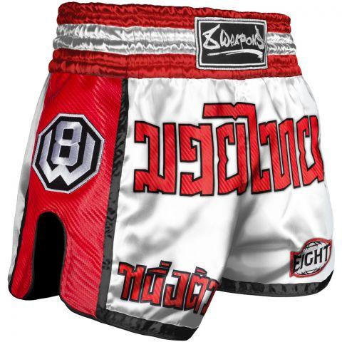 Short de Muay Thai 8 Weapons Carbon - Blanc/Rouge