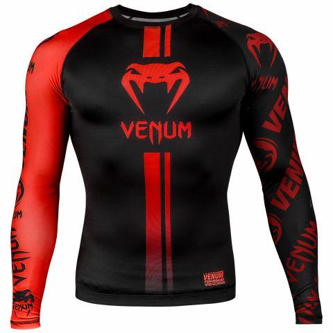 Rashguard Venum Logos - Manches longues - Noir/Rouge