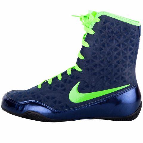 Chaussures de boxe Nike KO - Bleu Marine/Vert Électrique
