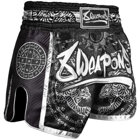 Short de Muay Thai Carbon - Sak Yant Tigers - Noir