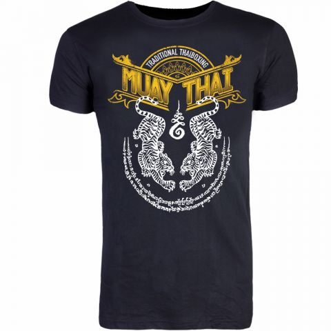 T-shirt 8 Weapons Sak Yant Tigers Muay Thai - Noir