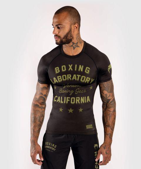 T-Shirt de compression Venum Boxing Lab - Manches courtes - Noir/Vert