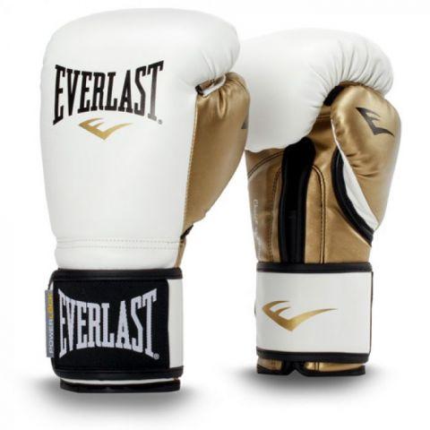 Gants de Boxe Everlast Powerlock Training - Blanc/Or