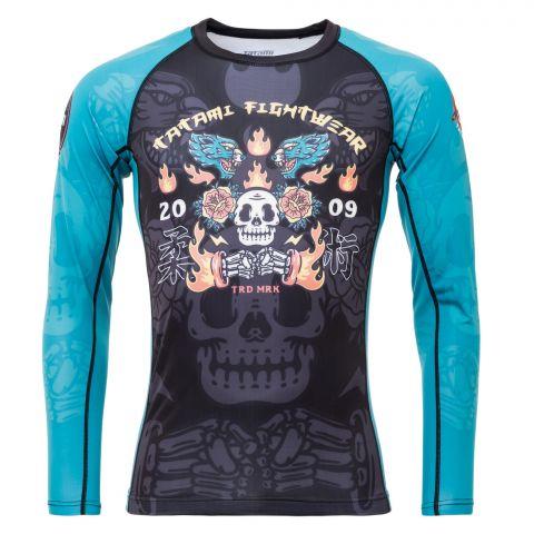 T-Shirt de Compression Recyclé Eco Tech Tatami Fightwear Día De Los Muertos - Manches Longues - Noir/Bleu