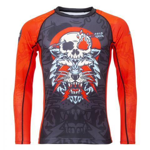 T-Shirt de Compression Recyclé Eco Tech Tatami Fightwear Head Hunter - Manches Longues - Noir/Rouge