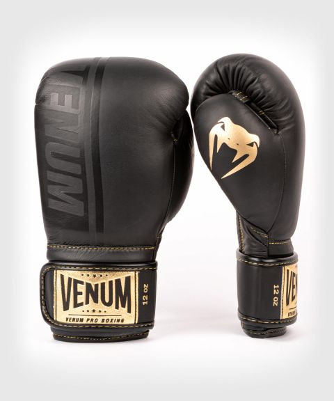 Gants de boxe pro Venum Shield - Velcro - Noir/Noir-Or