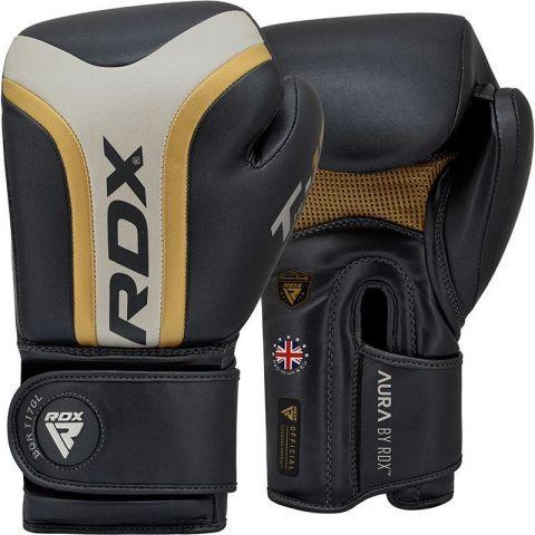 Gants de boxe RDX Sports Aura T-17 - Noir/Blanc/Or