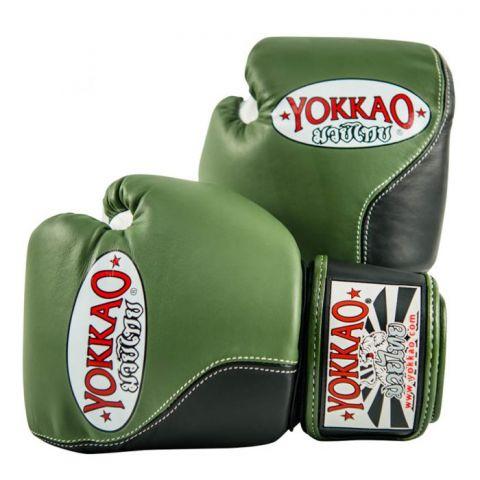 Gants de boxe Yokkao Double Impact - Cuir véritable - Vert/Noir