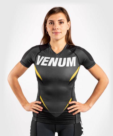 T-shirt de compression Venum ONE FC Impact - manches courtes - pour femme - Gris/Jaune