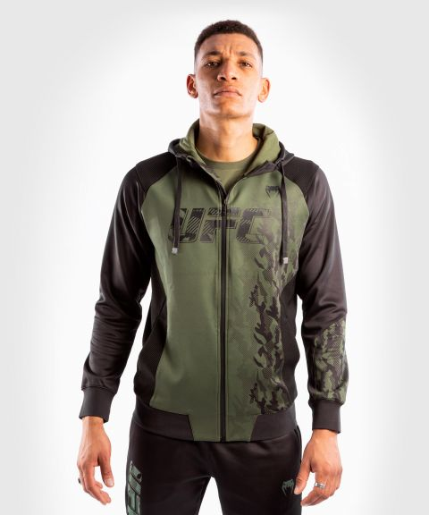 Sweatshirt Zippé Homme UFC Venum Authentic Fight Week - Kaki