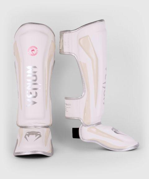 Protège-tibias Venum Elite - Blanc/Argent-Rose