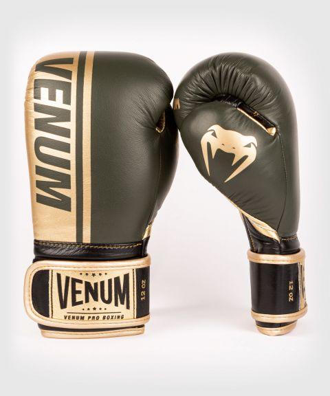 Gants de boxe pro Venum Shield - Velcro - Kaki/Or