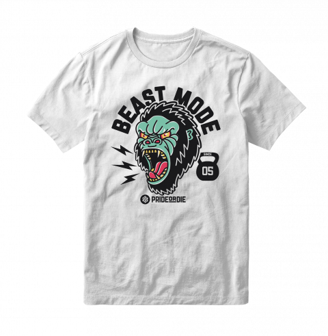 T-Shirt Pride or Die Beast Mode - Blanc