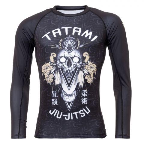 T-Shirt de Compression Recyclé Eco Tech Tatami Fightwear Totem - Manches Longues - Noir/Blanc