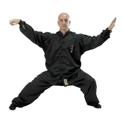 "Tenue de Tai Chi Fuji Mae brodée ""Premium"" - Noir"
