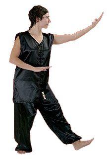 Kimono de Kung Fu Fuji Mae - Satin Noir - Sans manche