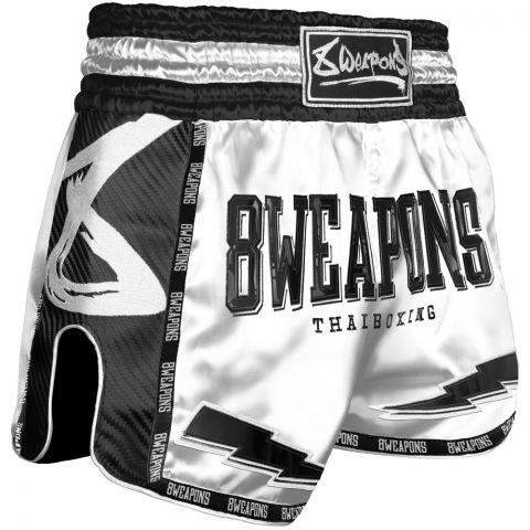 Short de Muay Thai 8 Weapons Carbon - Blanc