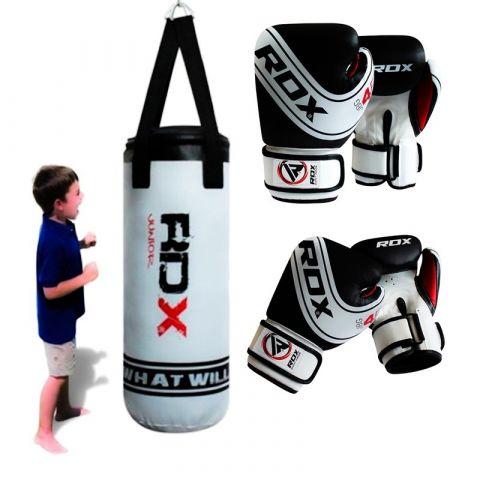 Sac de frappe enfant RDX Sports + Gants de Boxe Junior - Blanc