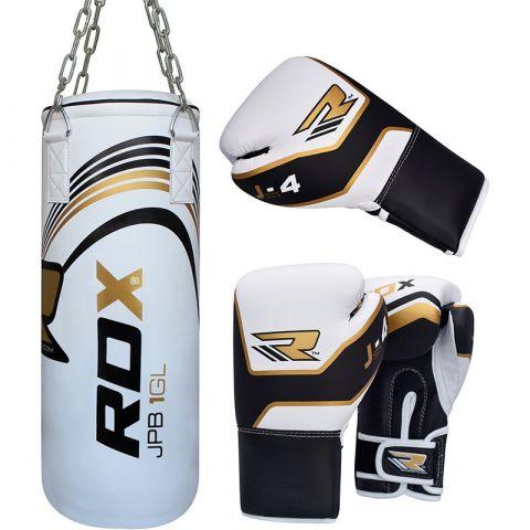 RDX Sports Sac de Frappe Plein + Gants de boxe - Enfant - Blanc