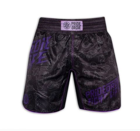Fightshort Pride or Die Fight Life - Noir