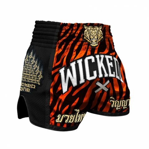 Short de Muay Thai Wicked One Tiger Stripes - Noir