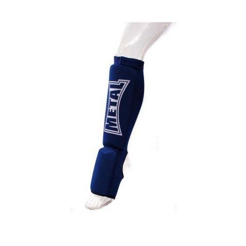 Protège-Tibias et coup de pieds Coton Metal Boxe - Bleu