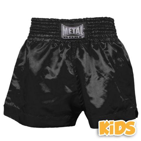 Short Boxe Thaï Enfant Metal Boxe - Noir